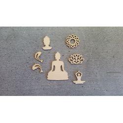 Embellissements en Bois Thème Buddha (7pcs)