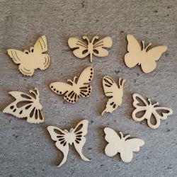 Embellissements en Bois Thème Papillons (9pcs)