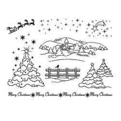 Set de Tampons Transparents Paysage de Noël