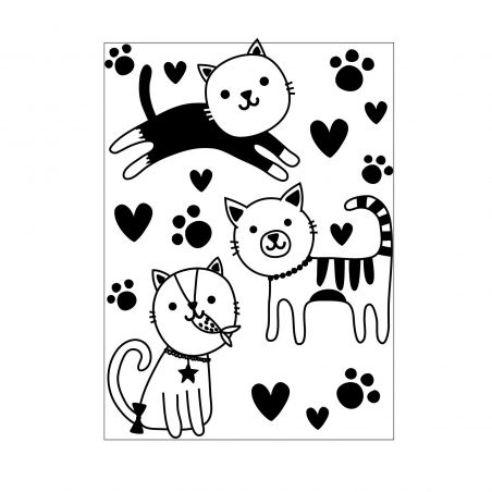 Plaque Embossage 3 Chats Mignons