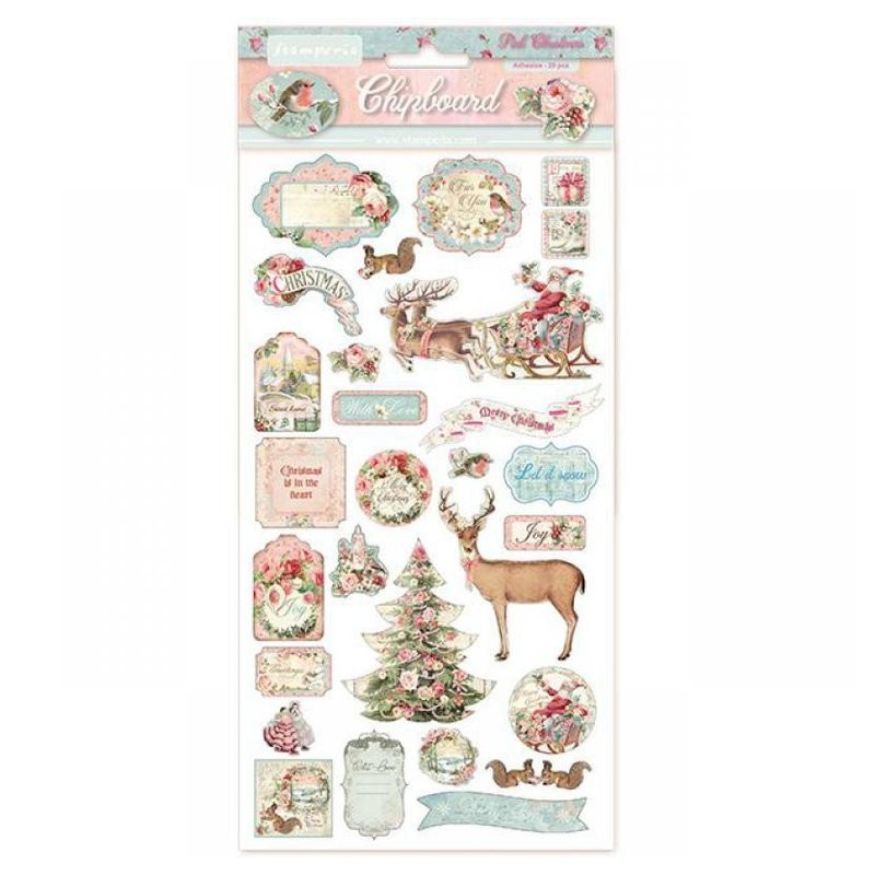 Chipboard Stamperia Pink Christmas